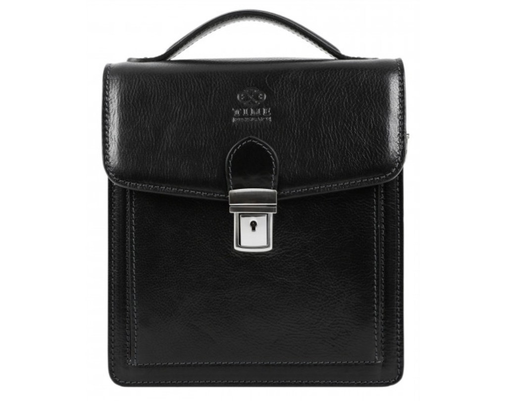 SMALL BLACK LEATHER BRIEFCASE MESSENGER - WALDEN