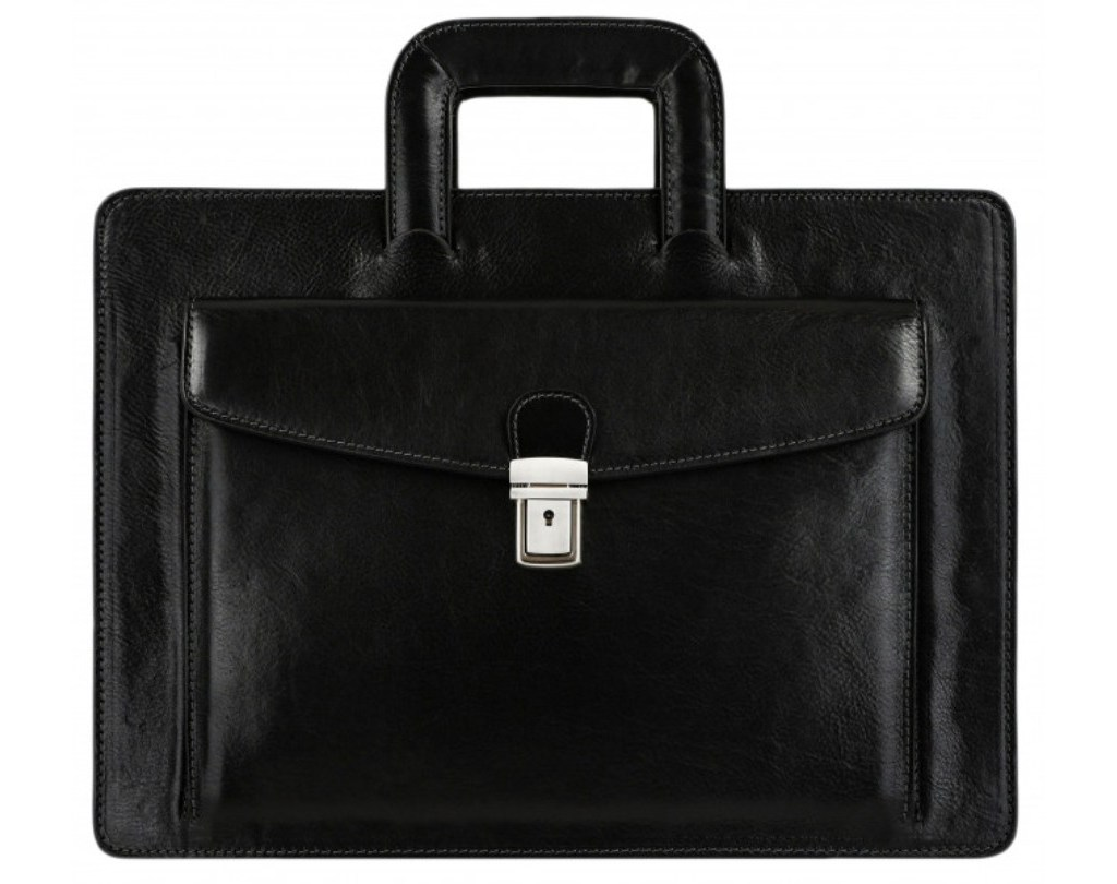 BLACK CLASSIC DESIGN LEATHER BRIEFCASE - THE TEMPEST