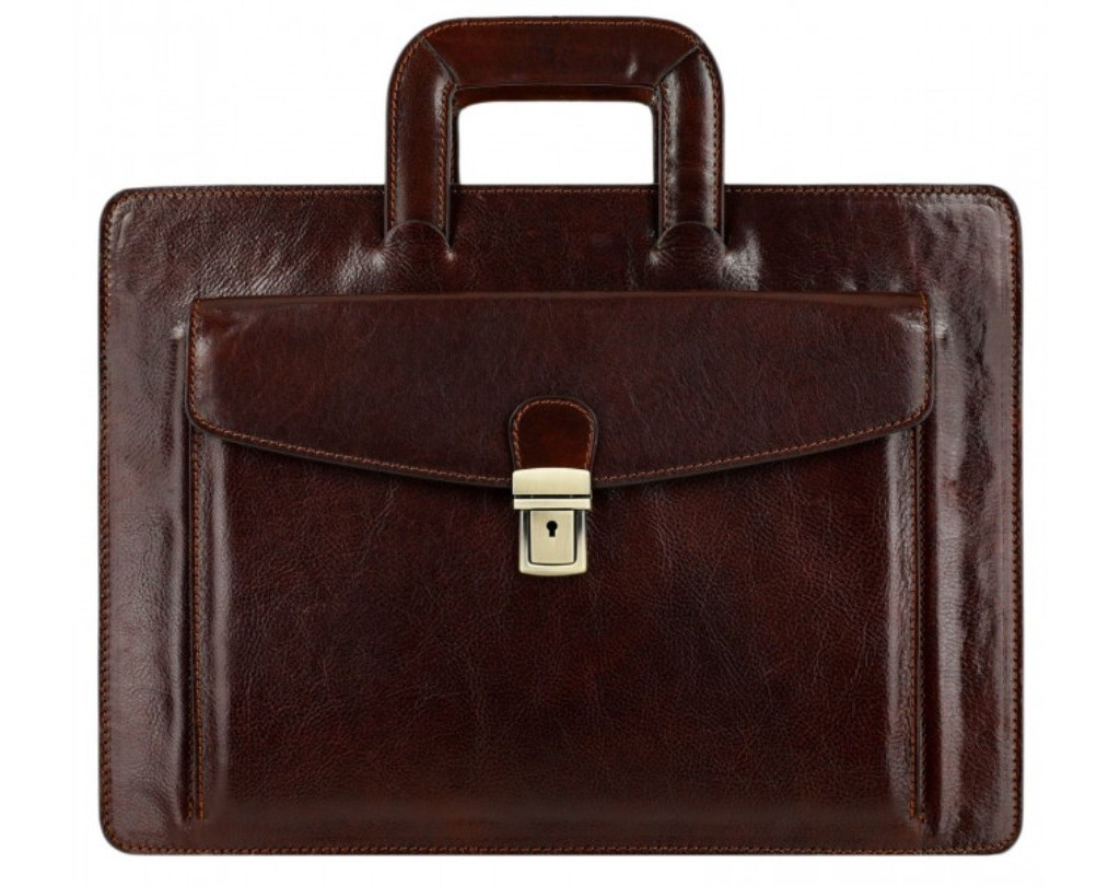 DARK BROWN CLASSIC DESIGN LEATHER BRIEFCASE - THE TEMPEST