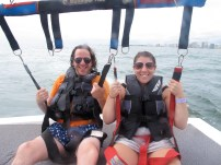 Our first time parasailing! I have to say it was actually kind of relaxing. Great views, and the scariest part was the banana boat ride out to the boat...