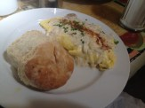 Crab meat omelette with brie cheese and avocado, topped with a creamy lump crab sauce at Surrey's Juice Bar. Best brunch!