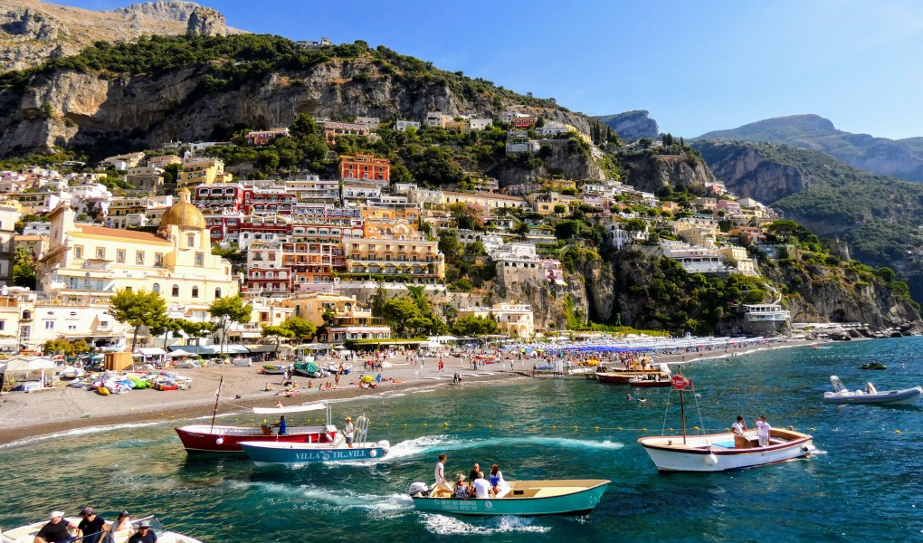 View of the Amalfi Coast by boat, for Ellen Blazer's travel blog To Travel and Bloom