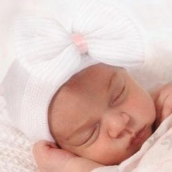 white newborn baby hats with bows