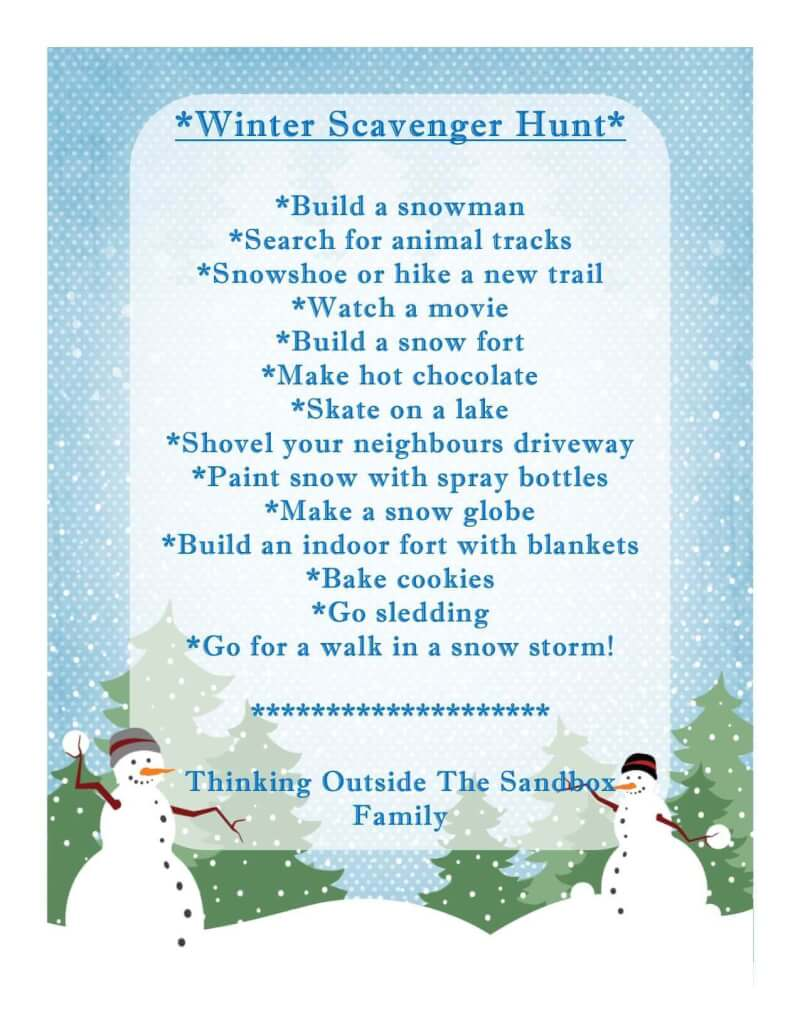 Winter Scavenger Hunt With Free Printable