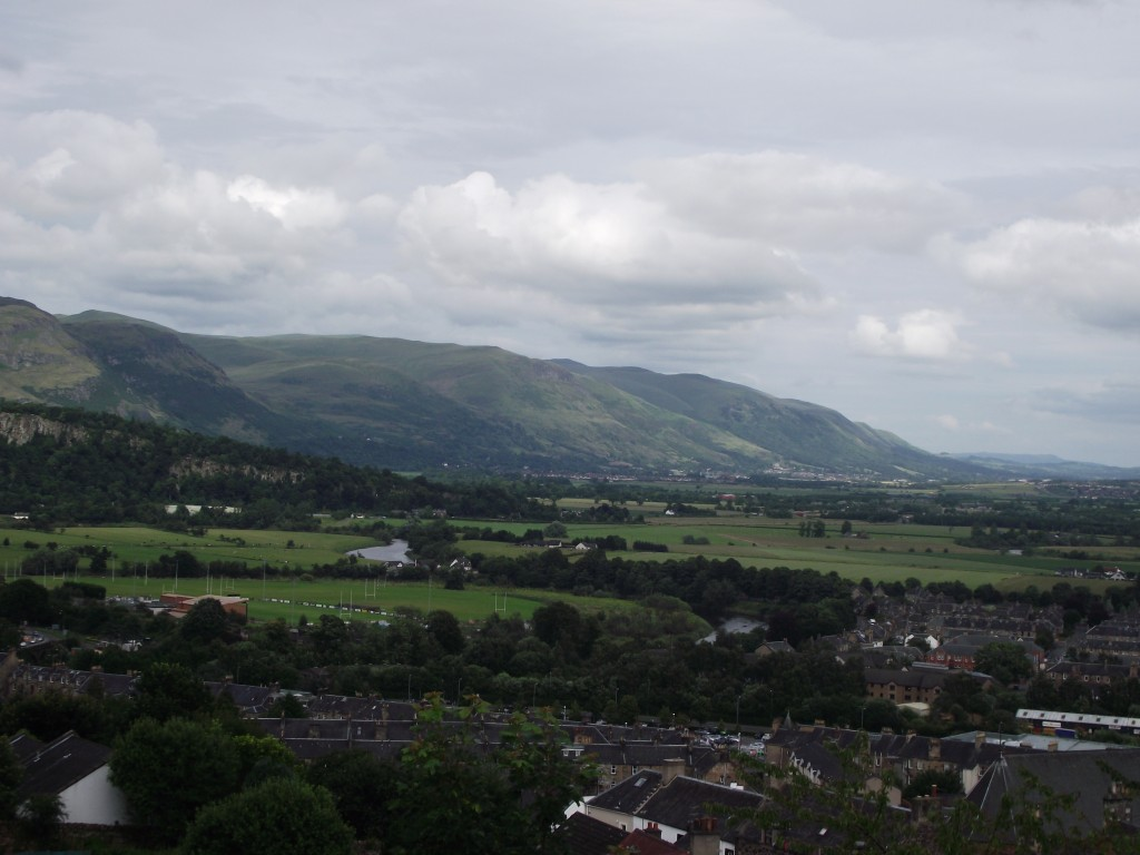 Looking over the town of Stirling towards the Campsie Hills from the castle