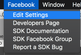 Facebook - Edit Settings 메뉴 선택