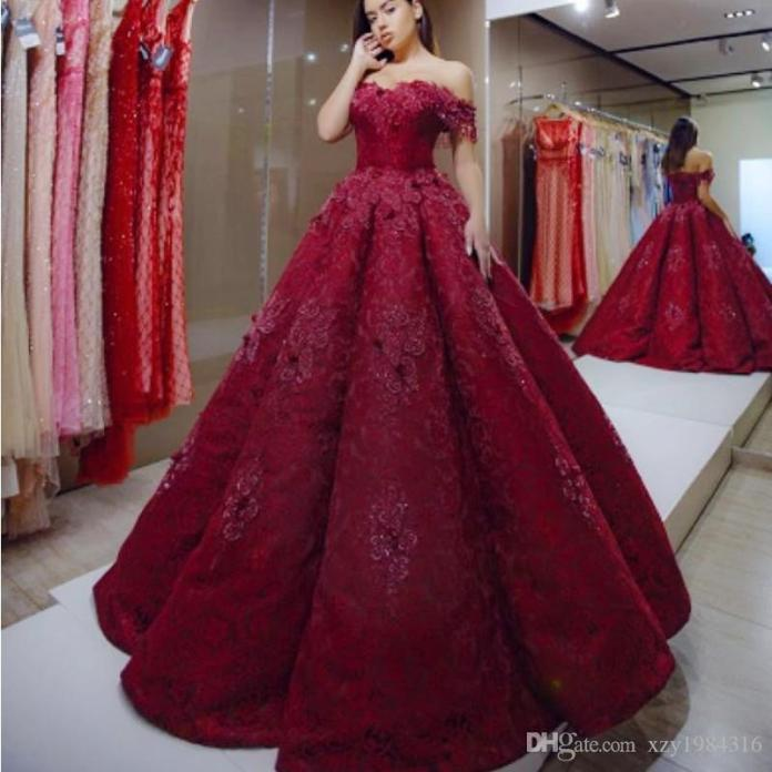 Charming Dark Red Evening Dresses Off Shoulder Appliques Beaded Lace Ball Gown Prom Dress Glamorous Dubai Evening Gowns Red Carpet Dress From Xzy1984316, $203.39 | DHgate.Com