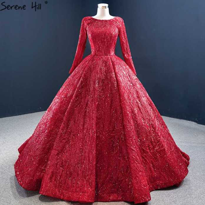 Red Luxury Ball Gown Plus Size Wedding Dresses For women 2020 Long Sleeve  Sequins Beading Bridal Gowns BHM67121 Couture Dress|Wedding Dresses| -  AliExpress