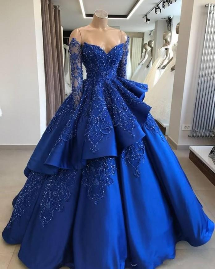 2020 Royal Blue Sweet 16 Quinceanera Dresses Off Shoulder Long Sleeves Beads Sequined Vestidos De 15 Anos Prom Gowns From Miss_cara, $175.88 | DHgate.Com