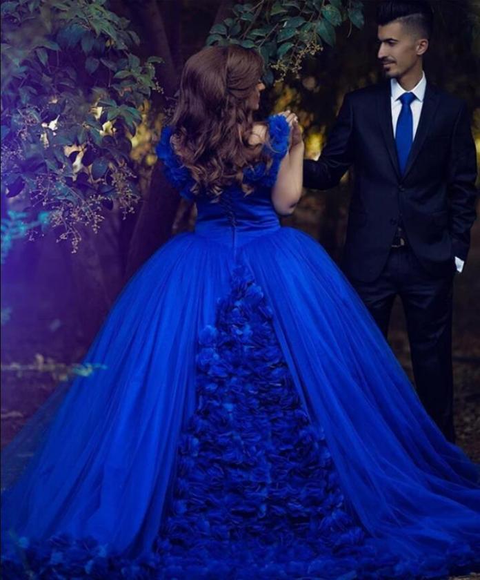 Princess Ball Gown Royal Blue Wedding Dress Cinderella Quinceanera Deb – Siaoryne