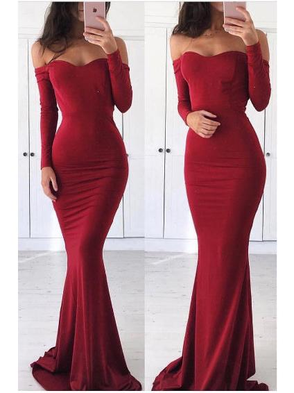 Mermaid Prom Dress Tight Off-the shoulder Burgundy Long Sleeve Long Prom  Dresses|Amyprom – AmyProm