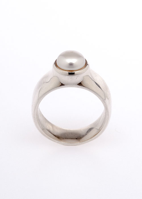 TouchToday  3D printed pearl ring in silver