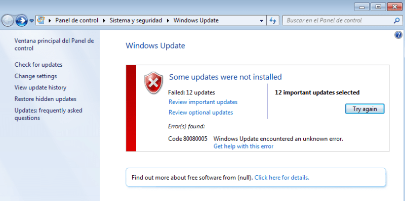 fallo al instalar actualizaciones en Windows 7