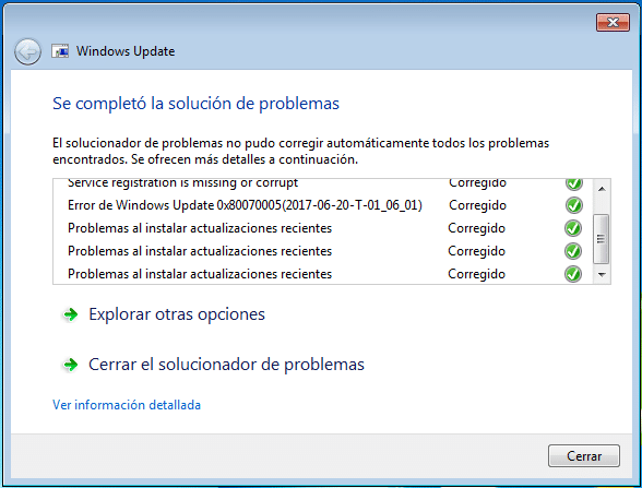 solucionar problemas en Windows Update