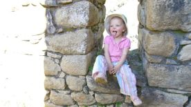 Silly baby in an Incan windows