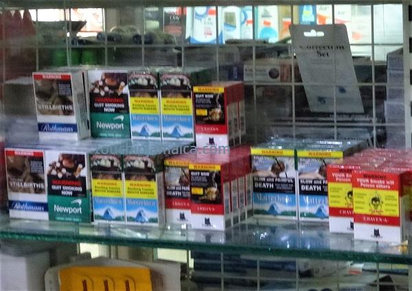 Auf Jamaika gibt es lokale Zigarettenmarken wie Craven A, Matterhorn, Newport und Rothmanns zu kaufen.