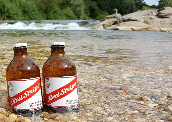 Red Stripe kühlen im Fluss - Touchinjamaica
