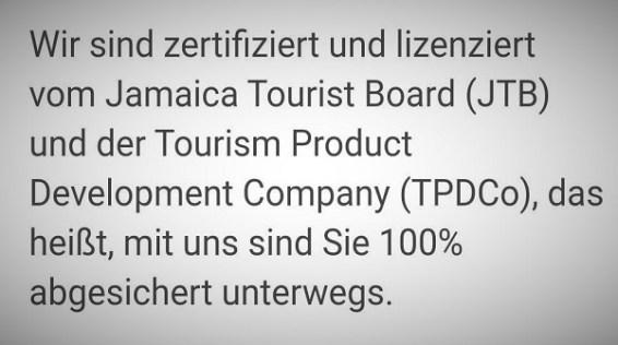 Lizensiertes und zertifiziertes Tourunternehmen auf Jamaika