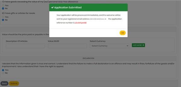 Bestätigung der Datenübermittlung für die Reisegenehmigung für Jamaika