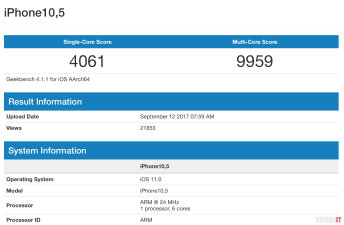 Výsledky testu Geekbench - Apple iPhone X