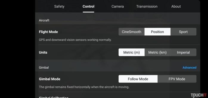 Nastavenia drona