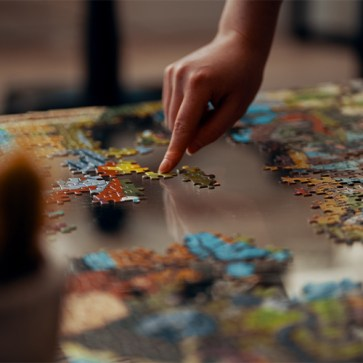 Making a puzzle with someone