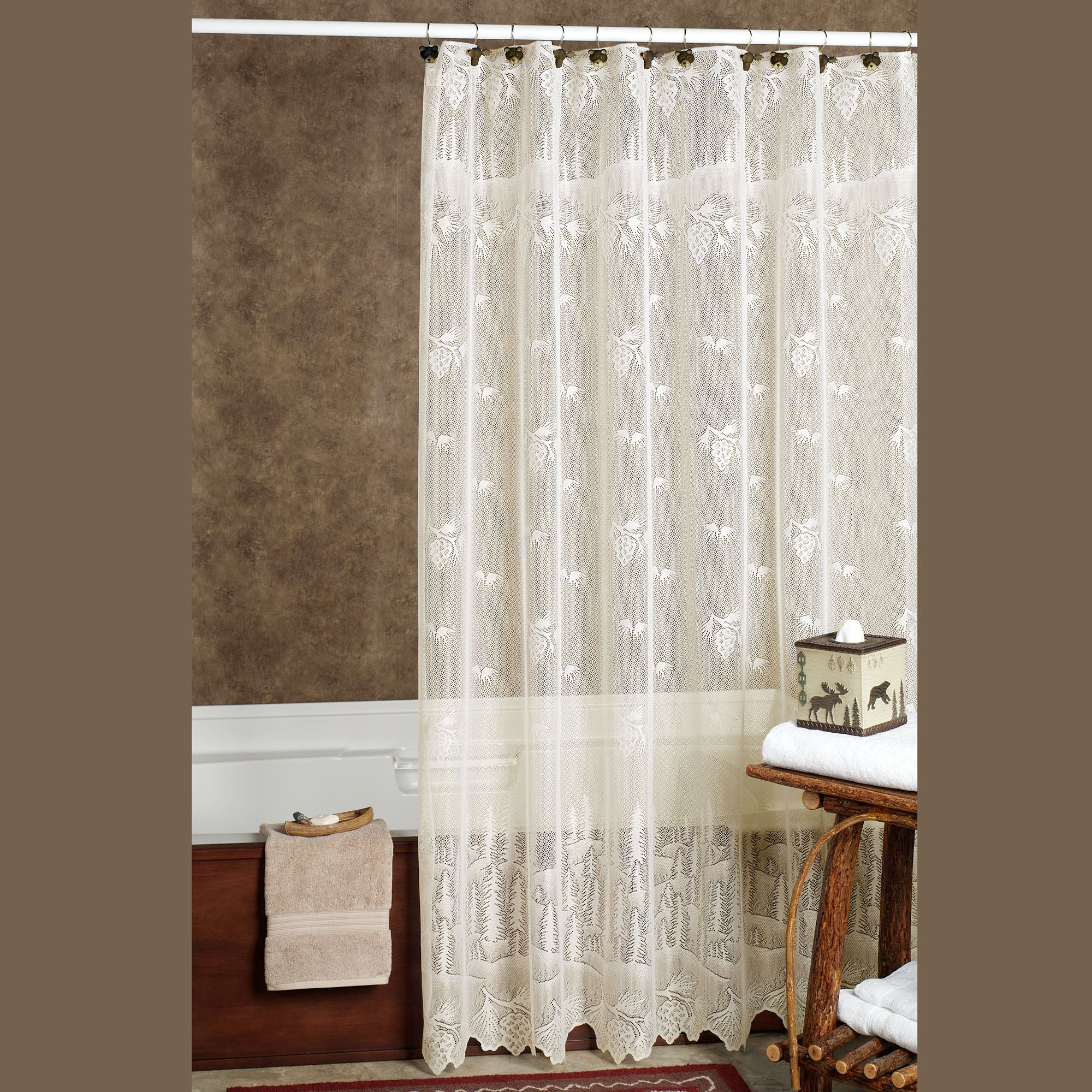 Bathroom Shower Curtain Pine Cone Lace Shower Curtain