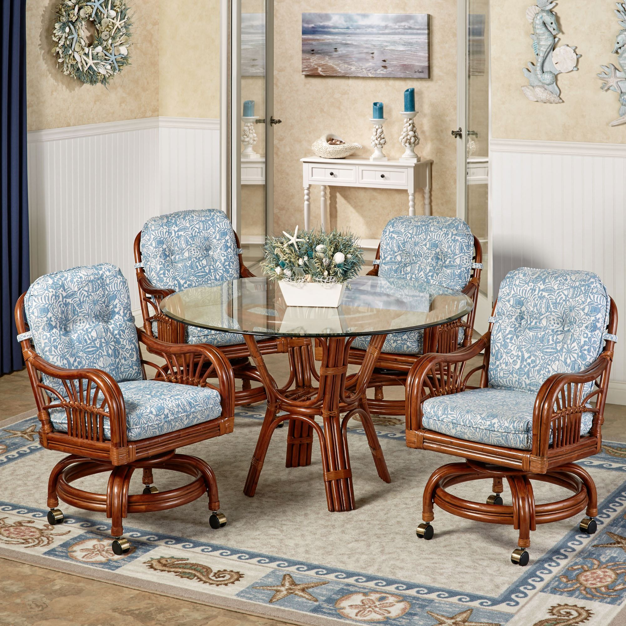 Dining Chairs With Casters Leikela Malibu Seaside Tropical Dining Furniture Set