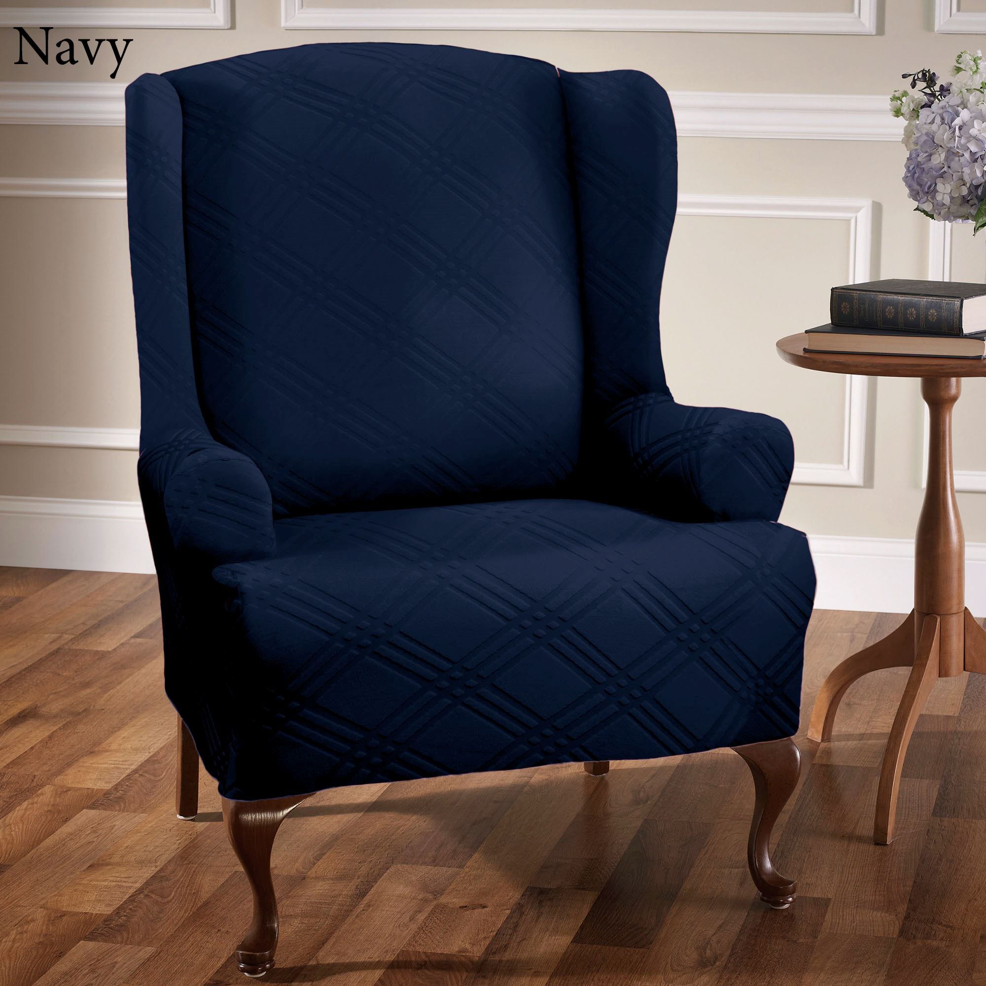 Wing Chair Double Diamond Stretch Wing Chair Slipcovers