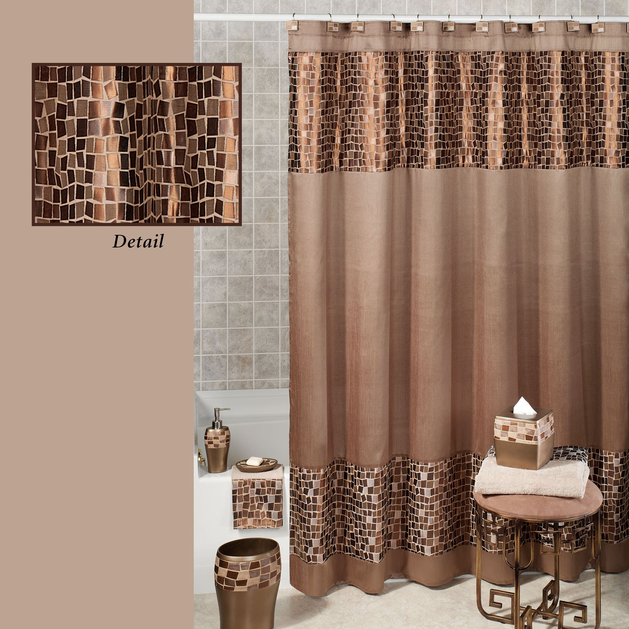 Bathroom Shower Curtain Bronze Mosaic Stone Fabric Shower Curtain