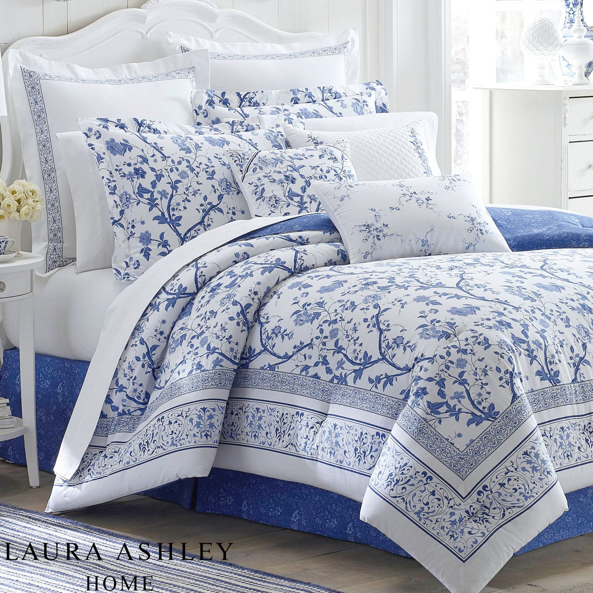 Charlotte Blue And White Floral Comforter Bedding By Laura Ashley