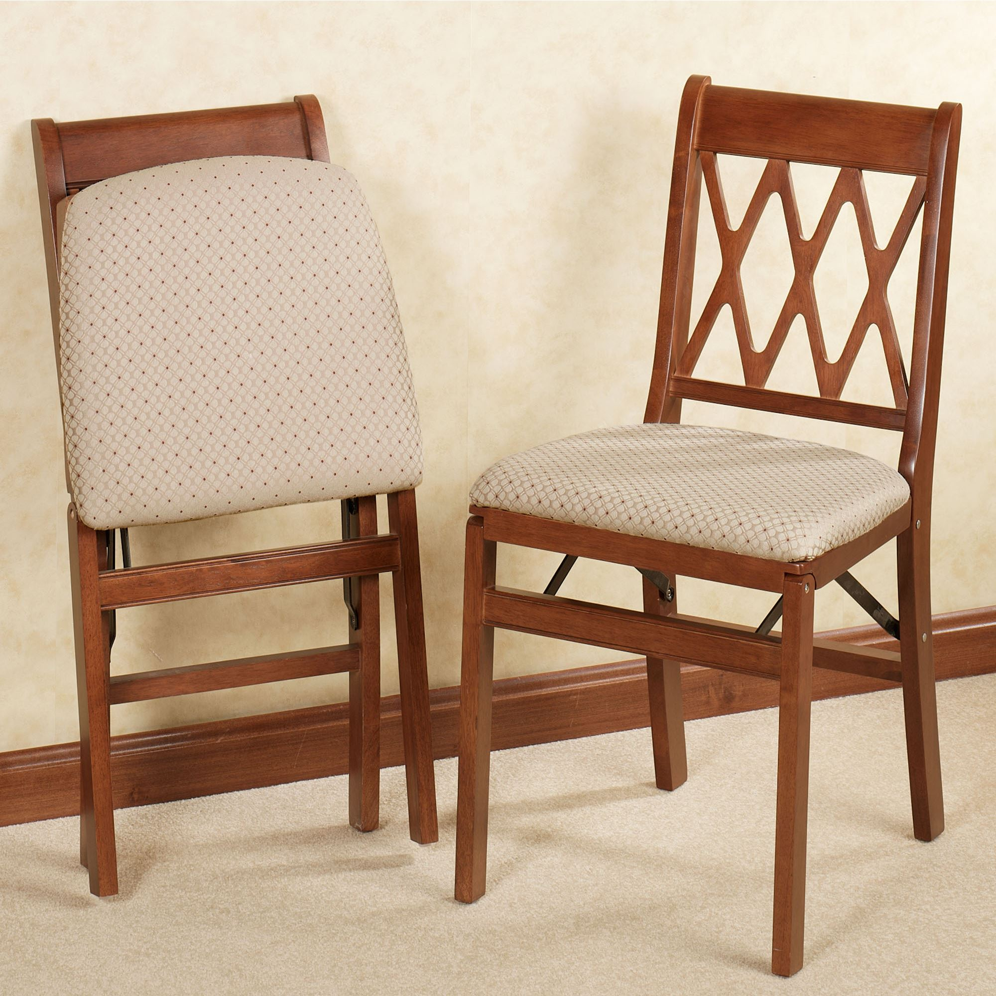 Stakmore Folding Chair Lattice Back Folding Chair Pair