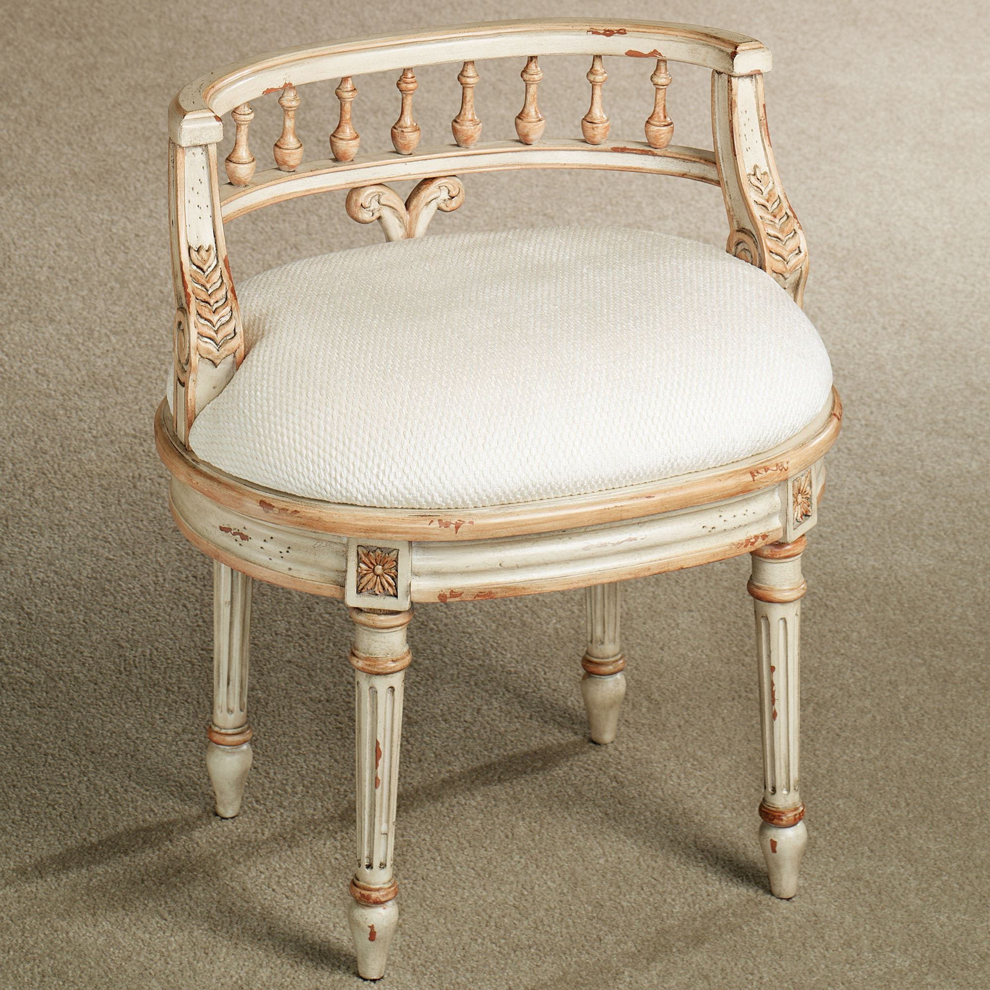 Upholstered Vanity Chair Queensley Upholstered Antique Ivory Vanity Chair