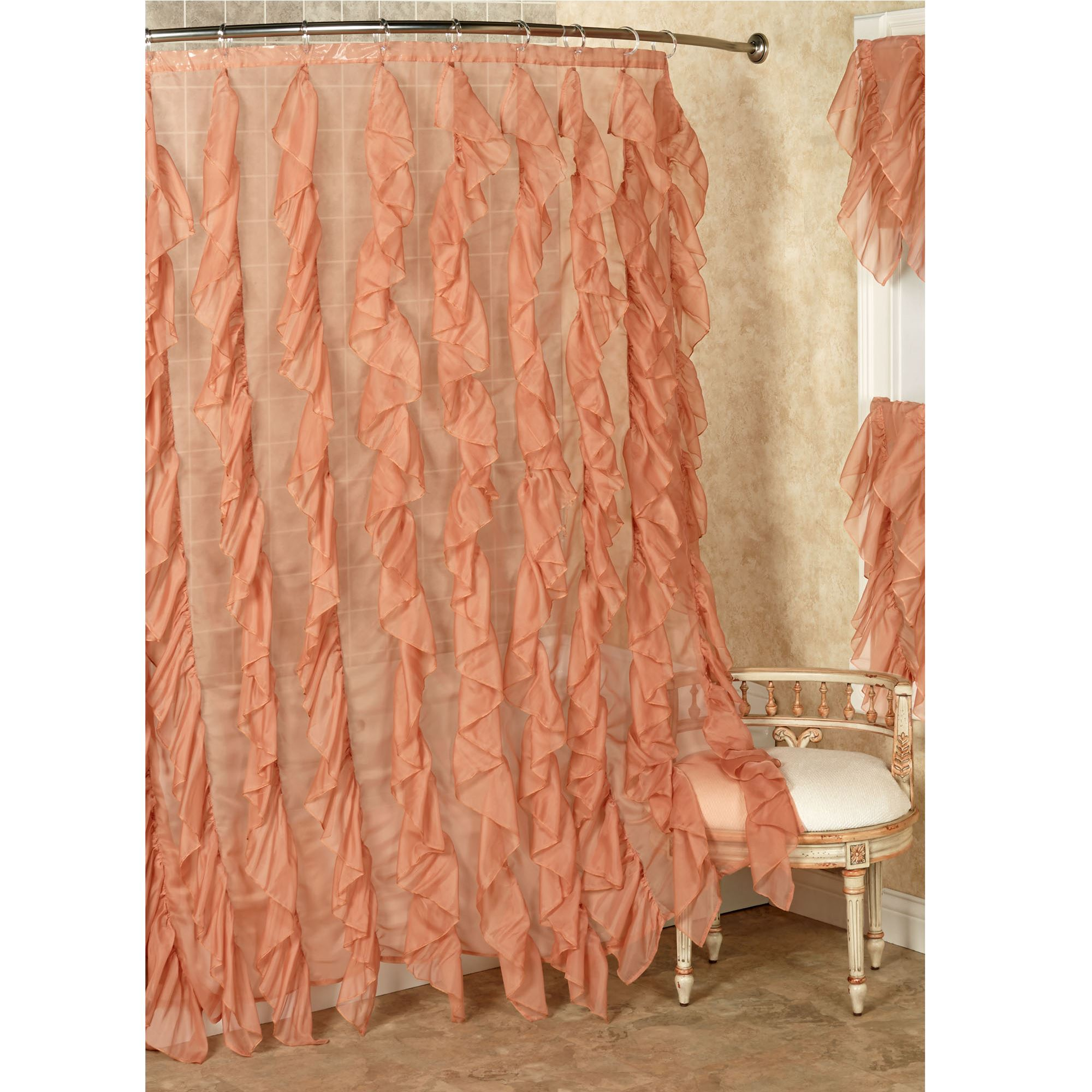 Bathroom Shower Curtain Cascade Ruffled Voile Shower Curtain