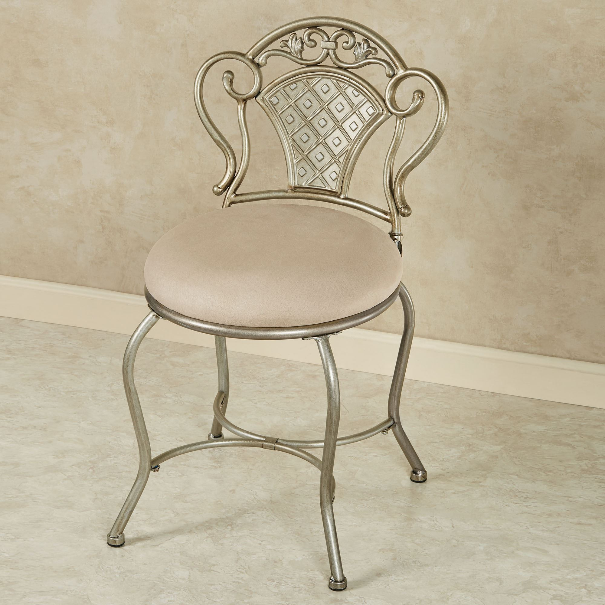 Upholstered Vanity Chair Claira Platinum Upholstered Vanity Chair