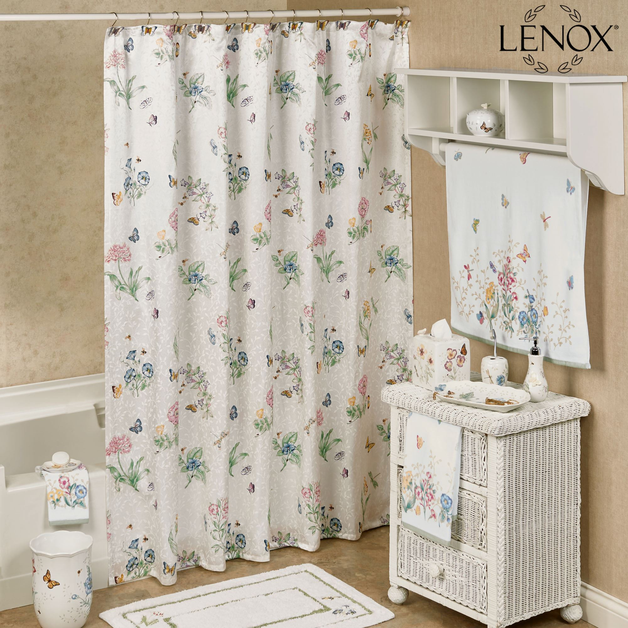 Bathroom Shower Curtain Lenox Butterfly Meadow Shower Curtain