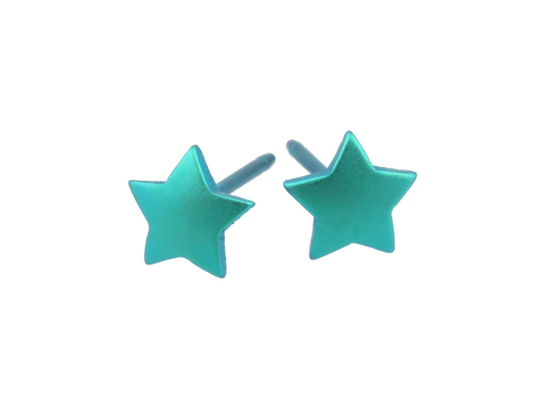 Star studs on TouchTitanium.com <p>These star stud earrings are out of this world! Handmade in titanium measuring 6mm diameter with titanium butterfly clasps. Available in a range of colours. These perfect little stars are hypoallergenic and safe to wear for all skin types.</p>