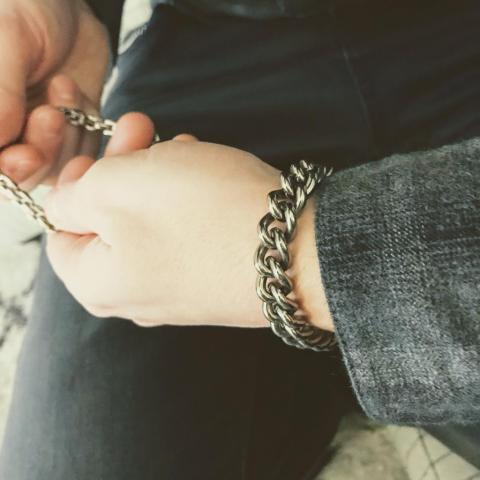 Titanium bracelet on wrist
