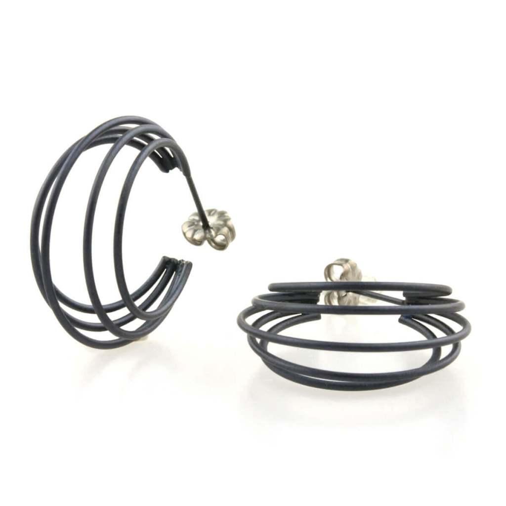 Moon frame hoop earrings on TouchTitanium.com