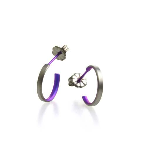 Purple Natural Hypoallergenic titanium hoop earrings small