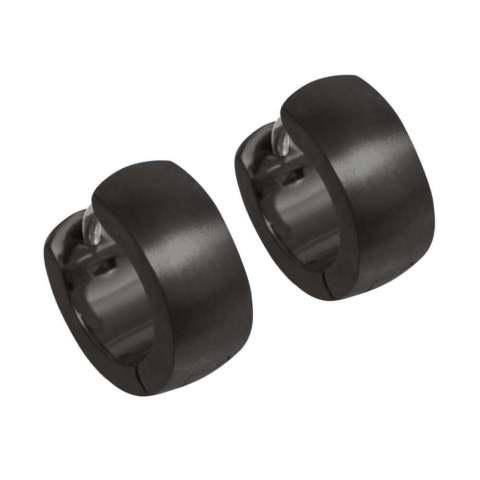 Coloured wide profile hypoallergenic titanium hoop earrings.
