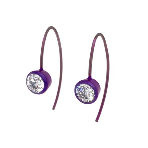 Compact titanium drop earrings featuring beautiful gemstones