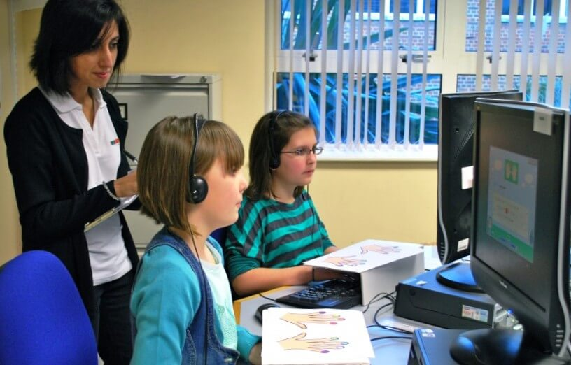 Children learning touch typing