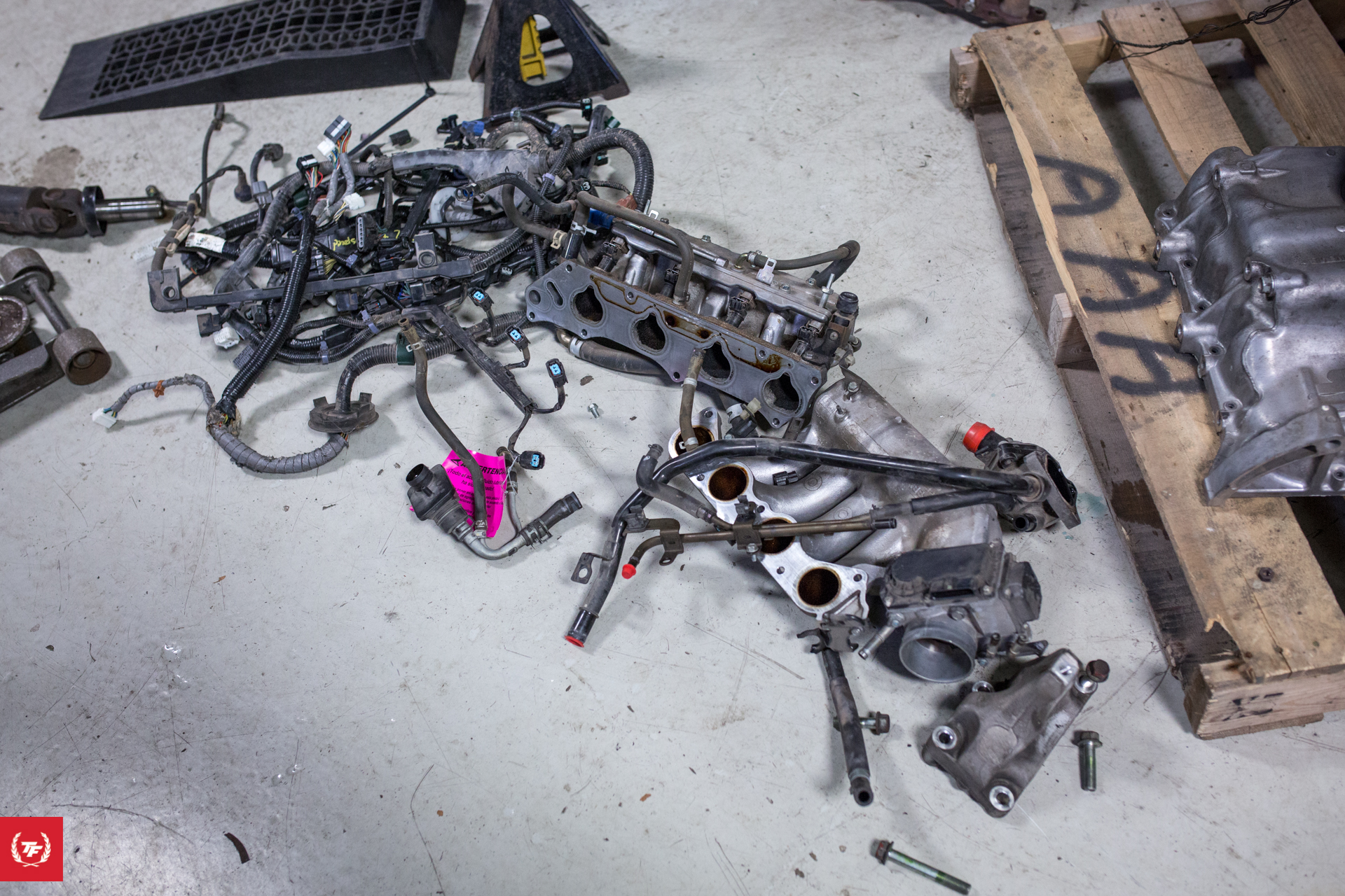 hight resolution of when the engine arrived we stripped it of all of the useless emissions junk factory wiring harness and the factory intake manifold ral 0284