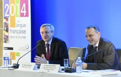 Clément Duhaime, Administrateur de l'OIF, et Alexandre Wolff, Responsable de l'Observatoire de la langue française présentent le nouveau rapport (©Cyril Bailleul/OIF)
