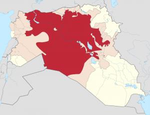 الوضعية في 1 نوفمبر 2014 باللون الأحمر: المناطق التي تسيطر عليها داعش باللون الوردي: المناطق التي تزعم داعش أن لها بها حضورا باللون الأصفر: بقيّة العراق وسوريا (المصدر: ويكيبيديا الأنجليزية)