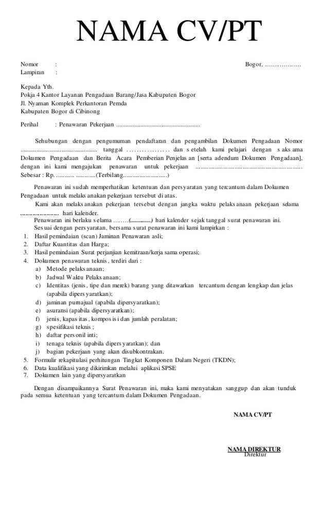 Contoh Surat Penawaran Harga Untuk Lelang Cute766