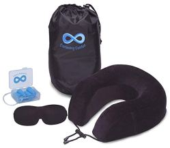 Everlasting Comfort Memory Foam Neck Pillow Travel Kit- Ultra Plush, Super Soft Velour Cover Equ ...