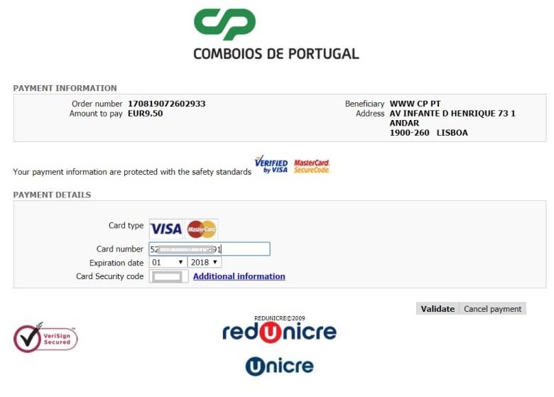 из Лиссабона в Порту Portugal trains - payment 3