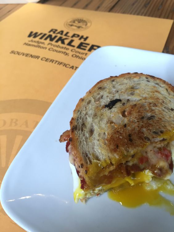 Breakfast Sandwich from Cheapside (plus our marriage license)